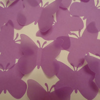 100 Large Purple Vellum  Butterfly die cuts-Purple Butterfly Punch, Paper Butterfly, Butterfly Decorations, Wedding Die Cuts-set of 100