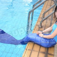 Child Adult Size Mermaid Tail Fin Monofin Real Swim Costume Caribbean Cosplay