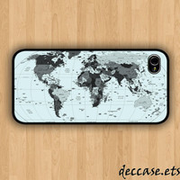 IPHONE 5 CASE - World Map - iPhone 4 case,iPhone 4S case,iPhone caseHard Plastic Case Rubber Case