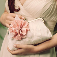 Rosa Iceberg  Powder Pink on Cream Bridal Clutch by DavieandChiyo