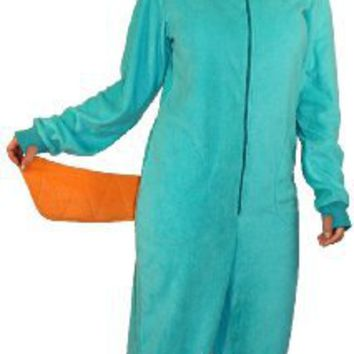 Amazon.com: Phineas and Ferb Perry the Platypus Adult Hooded One Piece Costume Pajama (Adult XX-Large): Clothing