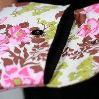 Pink Floral Clutch, Clutch Purse, Padded Pouch - Rose Bouquet clutch