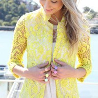 Bright Yellow Crochet Blazer with Unlined Sheer Sleeves