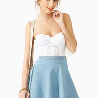 Heather Chambray Skater Skirt