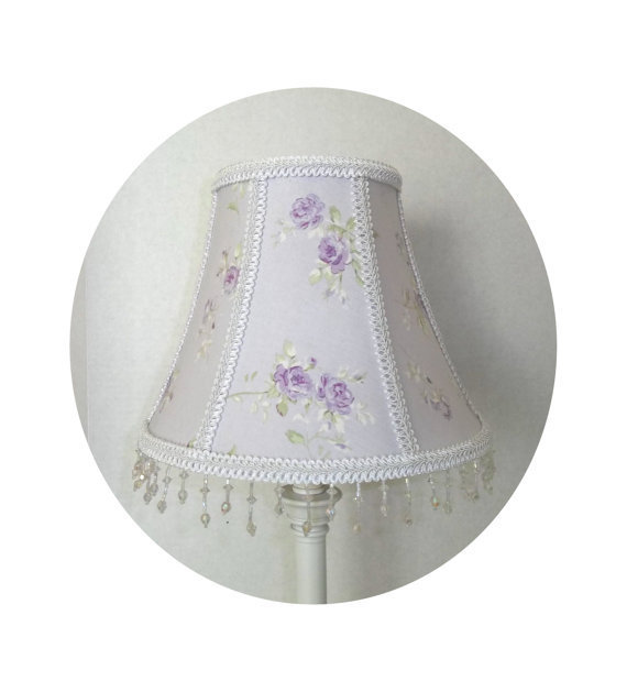 Shabby Chic Lilac Garden Rose fabric ~ Lamp Shade by ToileChicBoutique