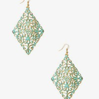 Painted Filigree Drop Earrings