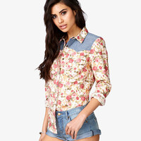 Chambray Rose Print Shirt | FOREVER 21 - 2035954537