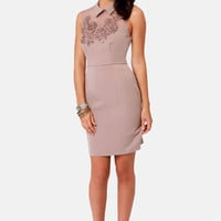 Darling Marni Taupe Beaded Dress