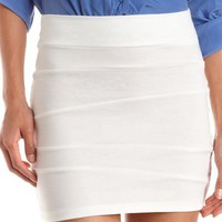 Asymmetrical Seam Ponte Mini Skirt: Charlotte Russe