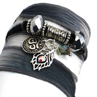Charcoal to Slate Pewter Silk Wrap Yoga Bracelet with Peacock Feather and Om Disc
