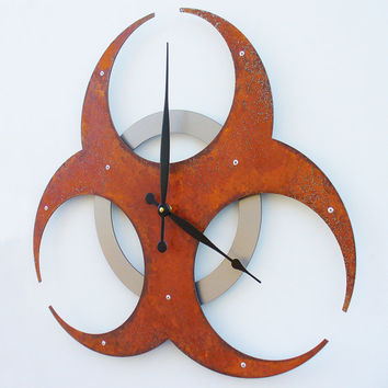 Biohazard Clock I Extra Large Rusted by All15Designs on Etsy