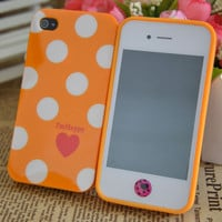Orange Cute Love Heart Polka Dots Soft Case for iPhone 4 4S+Love Button Sticker