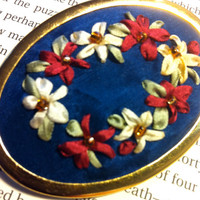 Embroidered Silk Flower Brooch  Silk RIbbon by BeanTownEmbroidery