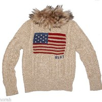 NWT Ralph Lauren Girls Flag Dull Zip Furr Collar Cardigan Sweater $125