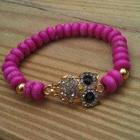 Gold Rhinestone Owl Pink Gemstone Beaded Bracelet