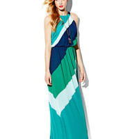 COLORBLOCK BATWING MAXI DRESS