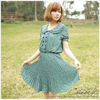 Side retro collar waist strap folded dress