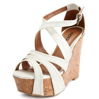 Charlotte Russe - Strappy Covered Cork Wedge