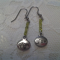 "Green ""Grow"" Charm Glass Bead Earrings"