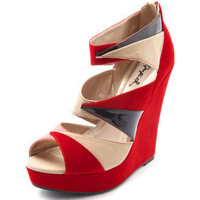 Charlotte Russe - Patent-Inset Color Block Wedge