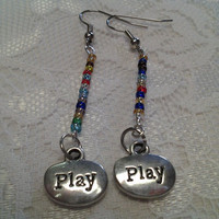 "Multi-Colored ""Play"" Charm Glass Bead Earrings"