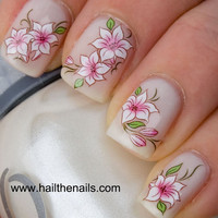 Pink &amp; White Lotus Flower Nail Art Water Transfer by Hailthenails