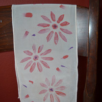 Peach Silk Scarf/Scarflette with Daisies