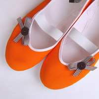 orange in chocolate /ballet flats shoes by CzarnaBiedronka on Etsy