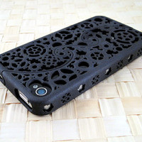 MADE TO ORDER (4-6 weeks) Designer iPhone 4S & 4 Steampunk Inspired Cogs and Gears Puzzle Case (3D printed Nylon) - 4 color options