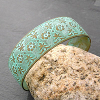 Verdigris Cuff Bracelet, Etched Metal Cuff, Flower Bracelet, Adjustable Bracelet, Verdigris Jewelry, Etched Metal Jewelry, Green Bracelet