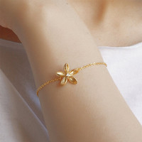 Frangipani bracelet by joojooland on Etsy