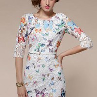 Embroidery Hollow Butterfly Print Lace Dress  S010535