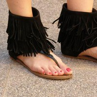 Black fringe cuff sandals from Samara1459