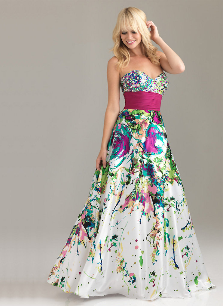 colorful A-line Sweetheart Neckline Beadings Floor Length Satin Graduation Dress-sinospecial.com