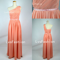 One Shoulder Long Chiffon Peach Prom Dresses Evening Gown Bridesmaid Dresses Evening Dresses Party Dress