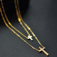 Golden Small Double Cross Necklace