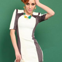 Round Neck Stitching Shrug Dress S010532