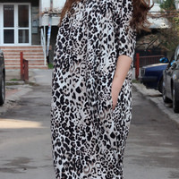 Handmade Leo Printed Oversized plus size loose fitted maxi elastic cotton tricott caftan dress / day dress / evening dress / party dress