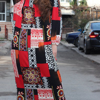 Handmade Long Multicolored patchwork Elastic Cotton Tricot Plus size Oversized Spring Summer Maxi Caftan Dress
