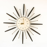 Vintage Starburst Wall Clock Retro Mid Century Modern / Atomic Decor