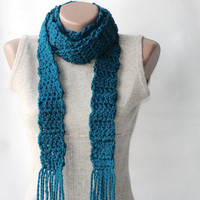 Teal Crochet Scarf Wool Blend Long Scarf Deep Teal Winter Accesories
