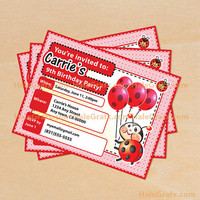Ladybug Birthday Invitation Printable, DIY File