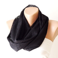 Tulle Scarf, Black Infinity, Cowl Scarf