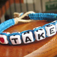 Taken Bracelet Gilrfriend Macrame Jewelry Blue Hemp Cord