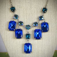 Sapphire Blue Rhinestone Statement Necklace, Wedding, Bride, Custom