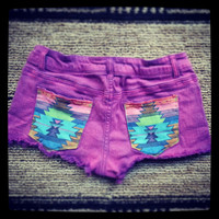 Hot Cut Off Jean Shorts - purple- tribal pocket- Size 26