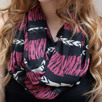 Tribal Infinity Scarf, Eternity Scarf, Chevron, Tiger Stripes, Black, Raspberry, Cream