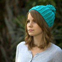 Blue Crochet Hat, Women's Beanie, Pom Pom Ski Cap, Accessories