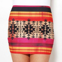Southwest Print Elastic Mini Skirt by AKIRA