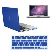 Amazon.com: SmackTom 3 in 1 Rubberized Blue Hard Case Skin for Macbook Pro 13 inches with Protective Keyboard Cover: Computers & Accessories